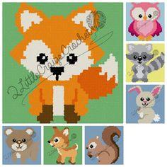 INSTANT DOWNLOAD-Woodland Animals-Fox-Owl-Bear-Deer-Squirrel-Raccoon-Bunny-Crochet Chart-Crochet Graph-Baby Blanket-Graph Pattern-C2C by 2LittleCraigsCrochet on Etsy https://www.etsy.com/listing/267286824/instant-download-woodland-animals-fox