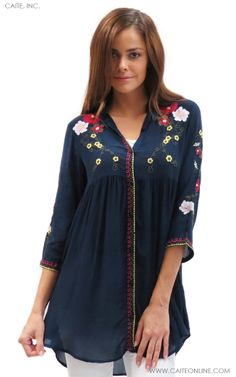 Your go-to tunic for an instantly boho chic look. The silky, slightly sheer fabric drapes incredibly over any body type. Look instantly stylish with this fabulous embroidered top that is perfectly paired with any legging or pant.