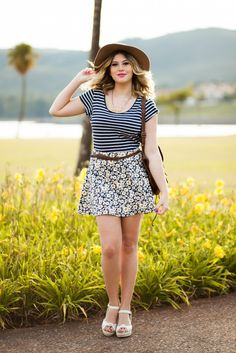 Look do dia: mix de estampas – listras e margaridas