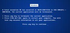 Blue Screen of Death (Pantallazo Azul de Windows).