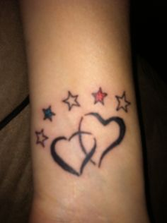My wrist tattoo. Our hearts joined together by our faith. Five stars to represent our children. The red and blue stars for our twins. #tattoo