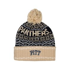 Top Of The World Pitt Panthers College Ugly Sweater Knit Hat ($2.99) ❤ liked on Polyvore featuring accessories, hats, blue, knit beanie, embroidered hats, long beanie, blue hat and blue beanie hat