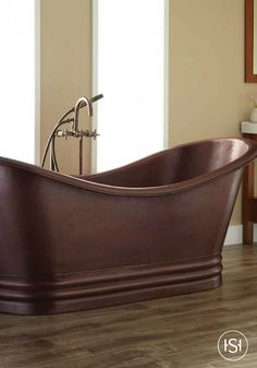 Take a relaxing soak in the Morgan Hammered Dark Copper Double-Slipper Tub. A decorative plinth encases the base of the tub, while the lip contains a continuous rolled rim. Forged by hand, the Morgan adds a warm and rustic look to any bathroom. Pair w Copper Tub, Copper Counter, Copper Bathroom, Pedestal Tub, Japanese Soaking Tubs, Copper Interior, Tub Tile, Tub Faucet