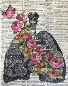 Flowery Lung Art Lung Of Flowers Anatomy Print Love Art