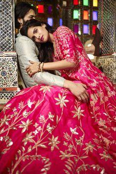 Sangeet Lehengas - Pink Lehenga with Gold Gotta Work | WedMeGood #wedmegood #pink #lehenga #indianwedding #indianbride