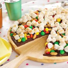 Cookie Candy Pizza- I've also made this with a graham cracker crust, and different toppings- the kids LOVE it:)