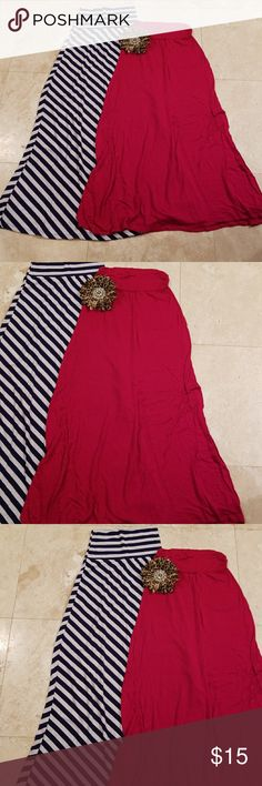 Bundle of maxi skirts 2 Like new red and navy blue stripes maxi skirts super comfy fabric make an offer ; ) Skirts Maxi