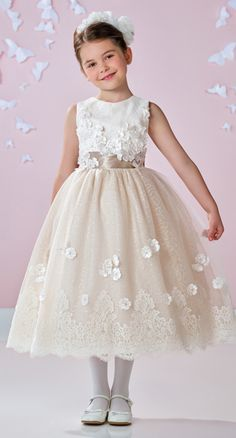 Joan Calabrese for Mon Cheri - Spring 2017 - Style No. 117336 - sleeveless satin & sequin tulle flower girl dress with hand-beaded flowers in Ivory/Stone Tulle Flower Girl, Ivory Flower Girl Dresses, Blush Dresses, Ball Gown Dresses, Little Girl Dresses, Girls Dresses, Tulle Dress, Designer First Communion Dresses, Girls Designer Dresses