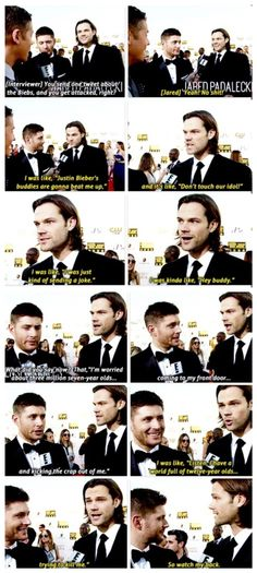 Jared Padalecki about his tweet to Justin Bieber- this whole thing is so funny to me. Cracks me up