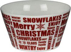 Julskål Christmas i porslin. Adventsporslin / julporslin i vitt med röd text Merry Christmas. (artnr 3108934)