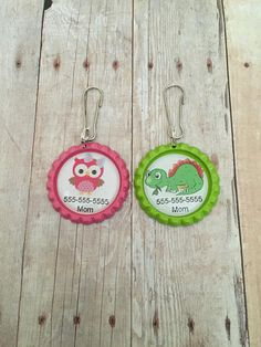 Child Safety Tag Clip  Phone Number Zipper Pull  by MysticGemz