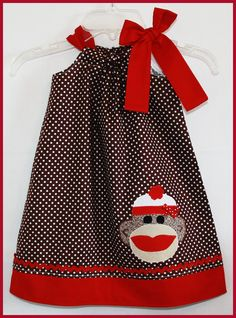 Super Cute Classic Brown and Red Sock Monkey applique Dress. $24.00, via Etsy.