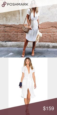 L'academie shirt dress 😍 xs Stunning ! Classic, timeless piece seen on many fashion bloggers . Size xs , currently sold out NWOT revolve Dresses Midi