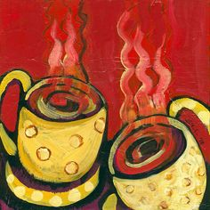 GOOD MORNING; COFFEE TIME; CUPS OF COFFEE PAINTING; MORNING IDEAS;