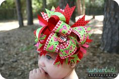 Watermelon Picnic Overthetop Hair Bow with by customcutees on Etsy, $24.00