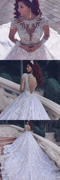 Popular Lace Wedding Dress Ball Gown With Applique And Beading,Bridal Dresses Ball Gown Wedding Dress with Long Sleeves