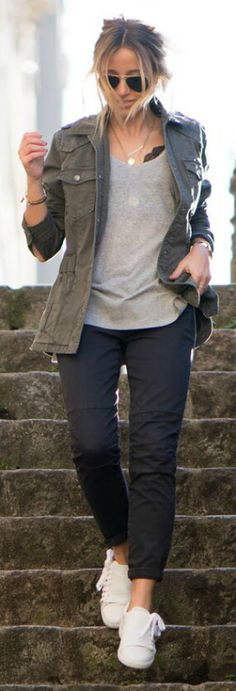 Camille Callen + cool and casual + low slung slacks + pair of fresh white sneakers + simple grey + white tee + khaki jacket + Camille + cute fall style. Outfit: Comptoir.