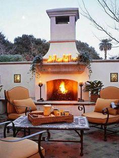 Beautiful Backyard Fireplace...