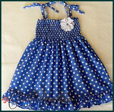 Dark Blue and white polka-dot dress for little girls-Size 3T-4T(Available in size 6 month to 6 years) toddlers  for baby girls photo prop. $20.00, via Etsy.