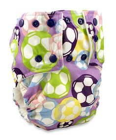 This is a real thing. hahahahahaha Mommy's Touch All-In-One, One-Size Diaper (lavender Soccer Ball Print)