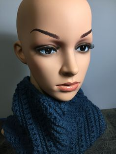 "Hand Knit Adult Winter Cowl, Unisex Design, Generous Sized 22""-24"" Neck 10"" Tall, Soft Yarn Blend, Med. Denim Color, Fast Shipping Sewing Doll Clothes, Sewing Dolls, Winter Headbands, Heirloom Sewing, Knit Cowl, Colored Denim, Winter Accessories, Ear Warmers, Neck Warmer"