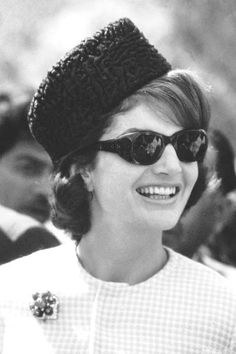Jackie KENNEDY wearing the traditional Pakistani hat (called a Jinnah cap) of astrakhan fur that was given to her personally by President Ayub Khan. During her visit to the Khyber Pass region of the country.March. 1962. ❤❁❤❁❤❁❤❁❤❁❤ http://www.jfklibrary.org/Asset-Viewer/fIAu7iZTSkaxouEFejMsdw.aspx