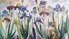 Welcome, Collaboration, Oil On Canvas, Irises, Cats, Painting, Gatos, Lilies, Painted Canvas