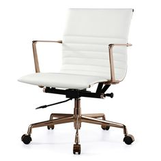 M346 Office Chair In White Italian Leather & Rose Gold