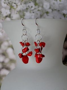 Red Natural Coral Chandelier Earrings by SmockandStone on Etsy, $15.00