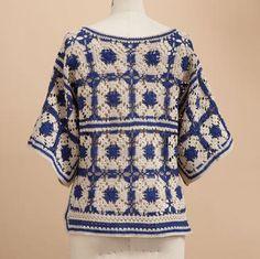 crochet jacket crochet c Crochet Socks Pattern, Crochet Shirt, Crochet Jacket, Crochet Cardigan, Crochet Squares, Crochet Granny, Easy Crochet, Crochet Tops, Granny Squares