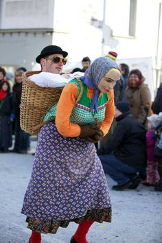 Optical illusion costume - peasant carrying baby