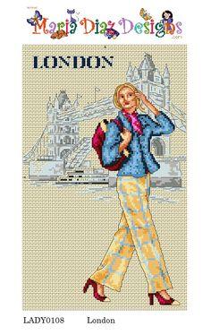 0 point de croix femme à Londres - cross stitch lady in london