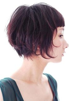 soft bob with great contrast of severe bangs