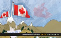 Canadian mountain waterfalls landscape. Nice grunge style and great flaming flags. Under Creative Commons 3.0 Attribution. Place a backlink to our site if your share this artwork. Enjoy!