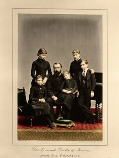 014 GuddiPoland Widowed Grand Duke Louis of Hesse-Darmstadt with his children, Princesses Victoria, Elisabeth, Irene and Alix, and son, Prince Ernest.