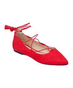 Look at this #zulilyfind! Red Tassel Twain Ballet Flat #zulilyfinds