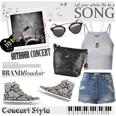 Brandboudoir at Outdoor Summer Concert by helenevlacho on Polyvore featuring Glamorous, Wet Seal, Pieces, Ash, Christian Dior, contestentry, outdoorconcert and brandboudoir