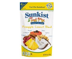 Sunkist® Pineapple Coconut Trail Mix RedefinedTM (8 Pack) Our Sunkist Trail Mix RedefinedTM combines crunchy tree nuts with lots of delicious fruit. No Artificial Colors or Flavors, 0% Trans Fat, 0% Cholesterol, Premium Fruits & Nuts #SnackItForward