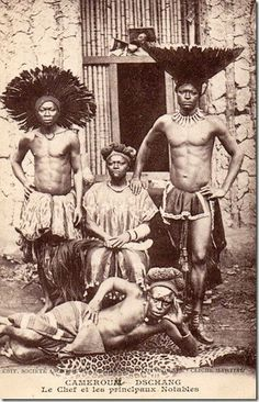 "Africa | Dschang people, Cameroon | Vintage postcard,""Cameroun, Dschang.Chief and principal notables."" 