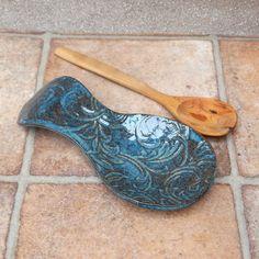 Spoon rest ....handmade in textured stoneware
