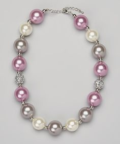 Lavender & Gray Chunky Bead Necklace