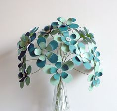 Paper Flower Bouquet - 20 Stem Aqua Teal 12""