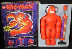 Vac-Man Stretch Armstrong was fun, but Vac-Man was better. You could suck the air out of him with a pump to stretch him out and keep him stretched out until you pressed the release valve. Childhood Toys, Childhood Memories, Stretch Armstrong, I Have A Secret, The Ch, Old Cartoons, Your Back, Know Your Meme, Historical Pictures