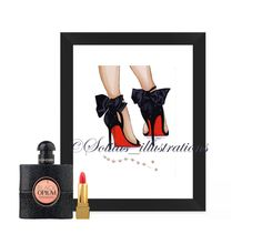 Print, card, high heels, pearls, louboutin, chic, wall art