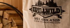 Idyllwild Heating and Cooling custom bag Wood Fireplace, Fireplace Inserts, Gas And Electric, Air Conditioning System, Heating And Cooling, Custom Bags, Logo Design, Cool Stuff