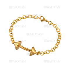brazalete de mancuerna dorado en acero inoxidable -SSBTG1134437