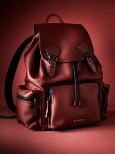 From the Burberry runway, The Rucksack is reinterpreted. A structured shape in rich leather is detailed with tonal buckles and fastenings.