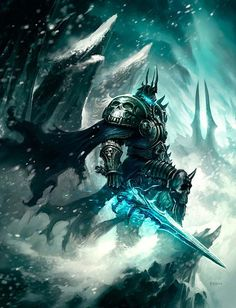 View an image titled 'Lich King on Cliff Art' in our World of Warcraft: Wrath of the Lich King art gallery featuring official character designs, concept art, and promo pictures. World Of Warcraft, Art Warcraft, Warcraft Movie, 3d Fantasy, Fantasy Kunst, Fantasy World, Dark Fantasy, Final Fantasy, Pandaren Monk