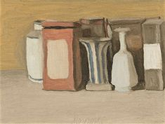 Morandi. I´ve always liked the suttle color use, how clear the structure is, and empty spaces. Few modern things in a nature morte, still talking to me.