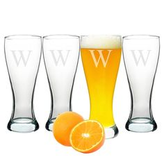 Cathy's Concepts Personalized Pilsner Glass Set (Set of 4)-